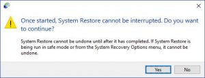 Windows 10 restore point